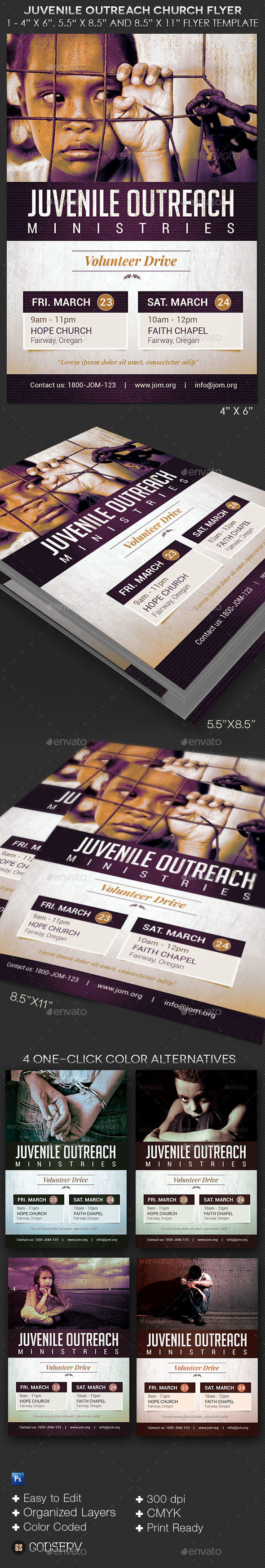 Juvenile Outreach Church Flyer Template - Church Flyers