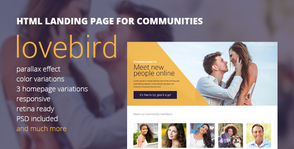 Lovebird – HTML5 Landing Page for Communities
