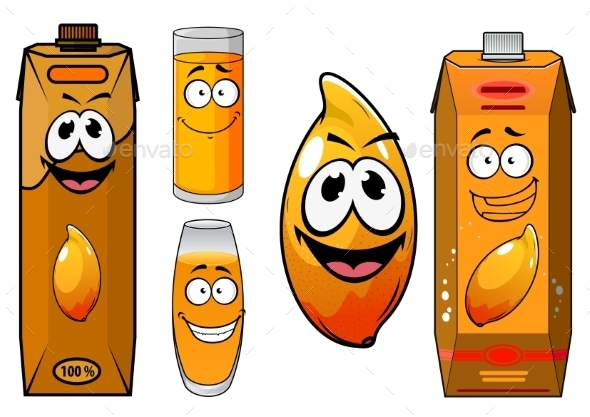 Fresh Mango Juice Characters  - Food Objects