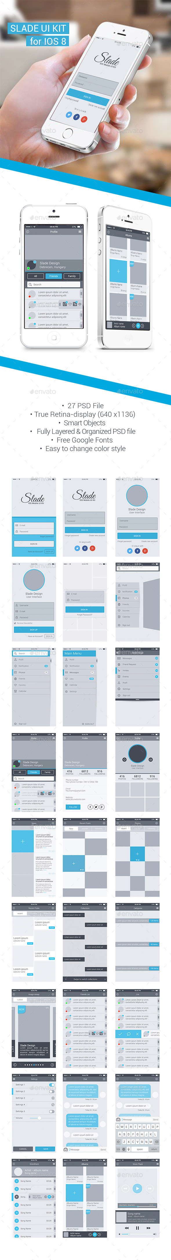 Slade UI Kit For IOS 8 - User Interfaces Web Elements