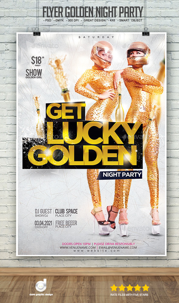 Flyer Golden Night Party - Clubs & Parties Events
