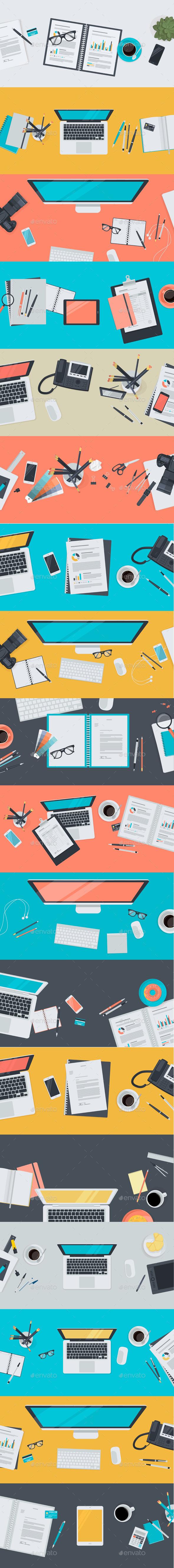 Set of Flat Design Workspace Concepts - Conceptual Vectors