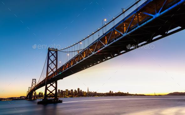 SF Bay Bridge at Sunset - Stock Photo - Images
