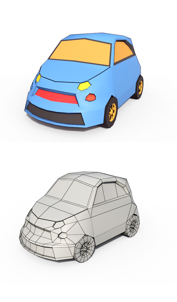 Low Poly Cartoon Car 3 - 3DOcean Item for Sale