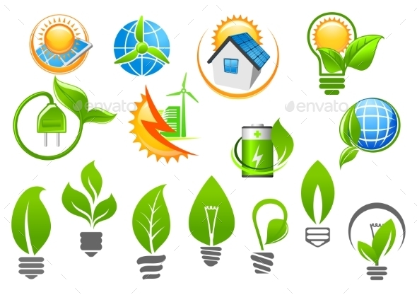 Abstract Eco or Green Energy Icons - Technology Conceptual