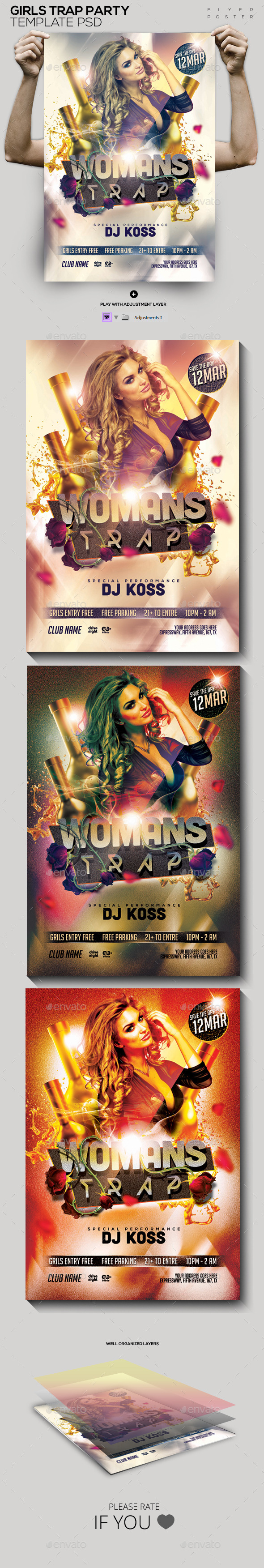 Woman Trap Night Out PSD Flyer/Poster - Clubs & Parties Events