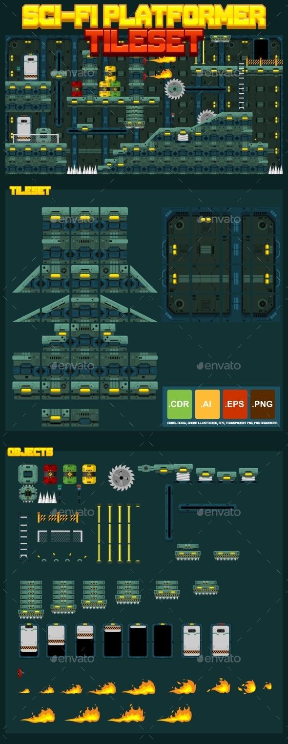 Sci-Fi Platformer Tileset - Tilesets Game Assets