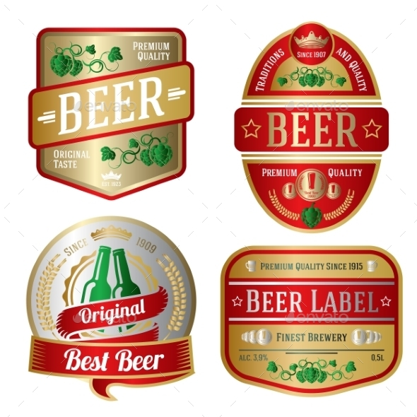 Set of Beer Labels - Decorative Symbols Decorative