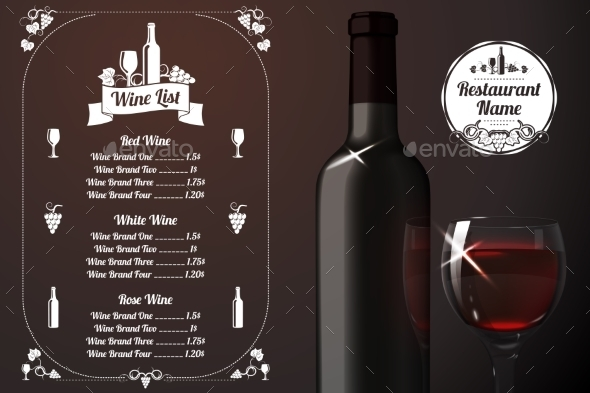 Menu Template with Alcohol  - Objects Vectors