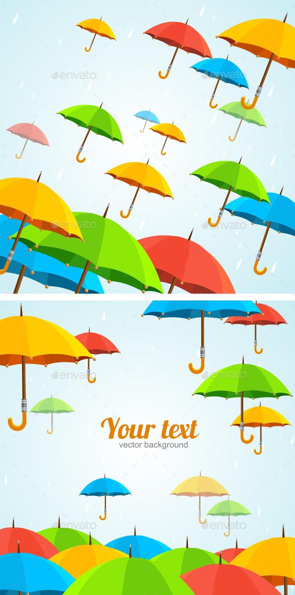 UmbrellasFly. Flat Design - Backgrounds Decorative