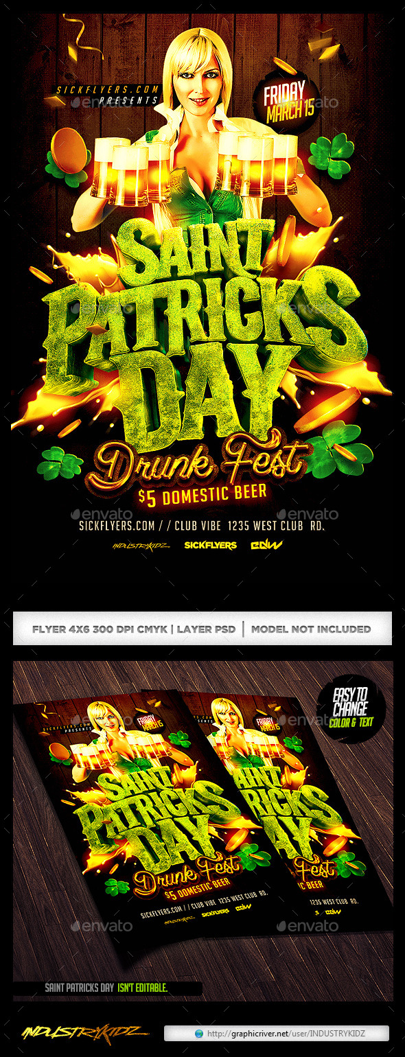 St Patricks Day Drunk Fest Party - Holidays Events