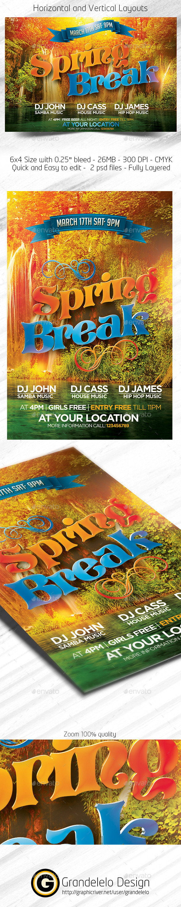 Spring Break Flyer Template 2015 - Clubs & Parties Events