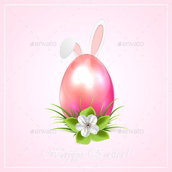 Pink Easter Egg and Bunny Ears - Animals Characters