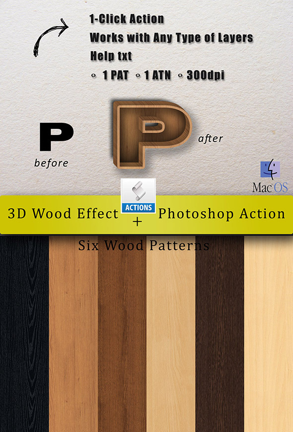 3D Wood Effect Action - Actions Photoshop