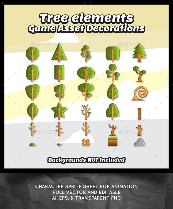 Tree Vector for Game Decorations - Miscellaneous Game Assets