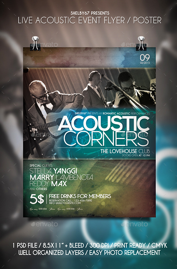Live Acoustic Event Flyer / Poster - Concerts Events