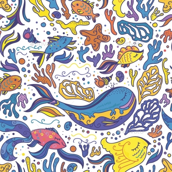 Bright Sea Doodle Pattern - Animals Characters