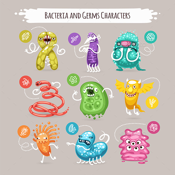 Bacteria and Germs Characters Set - Health/Medicine Conceptual