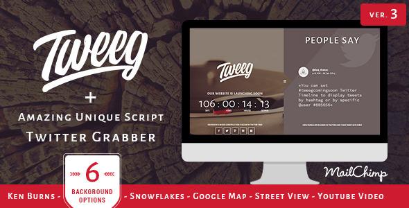 Tweeg – Responsive Countdown Landing Page