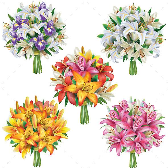 Set of Lilies Bouquets - Flowers & Plants Nature