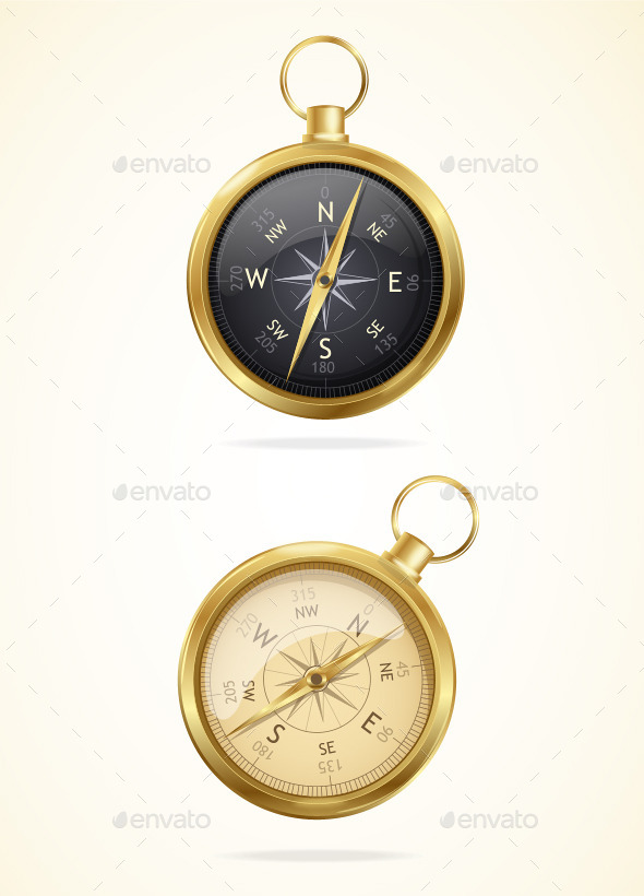 Retro Style Metal Compass - Man-made Objects Objects