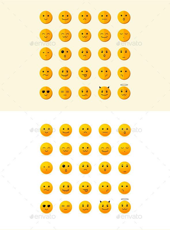 Smile Icon Set  - Web Technology