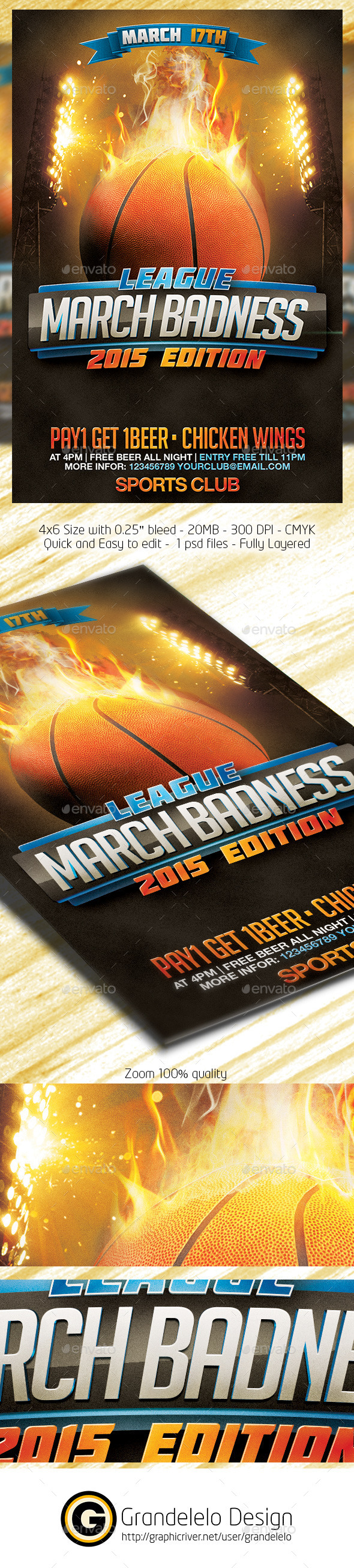 March Badness Basketball Flyer Template - Clubs & Parties Events