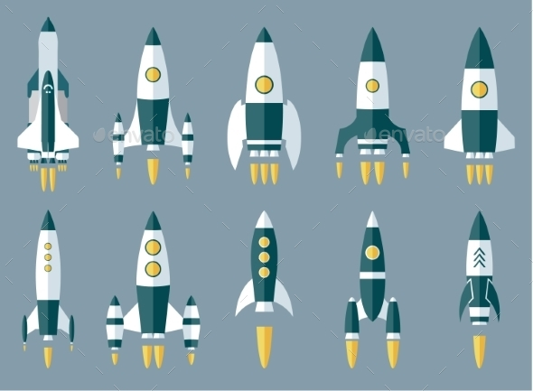 Set of Various Rocket Spaceship - Concepts Business