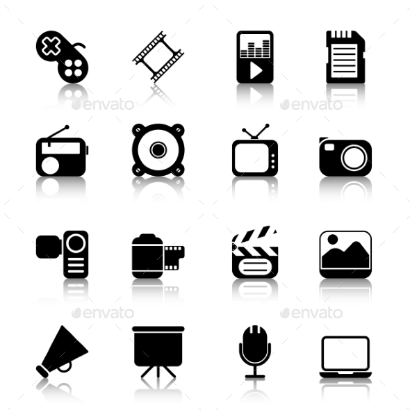 Multimedia Icons with Reflection - Objects Icons