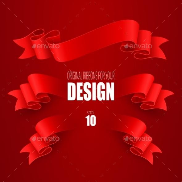 Set of Ribbons - Decorative Symbols Decorative