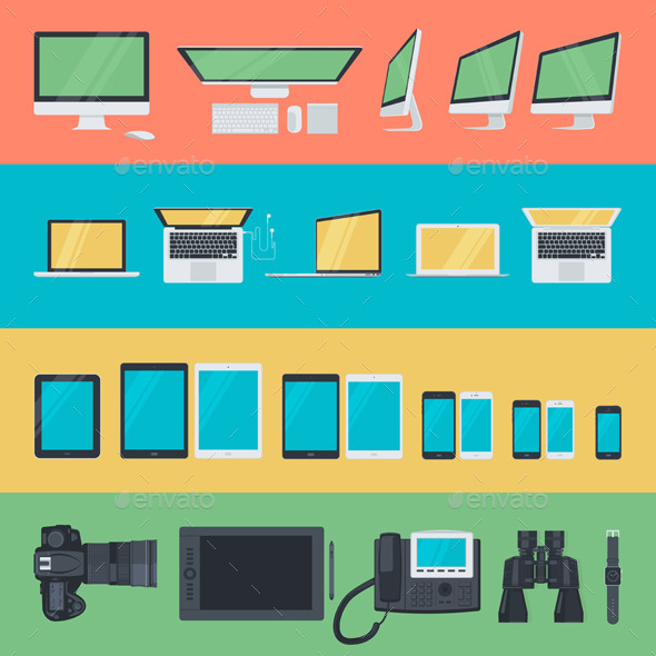 Flat Design Electronic Devices Icons  - Computers Technology