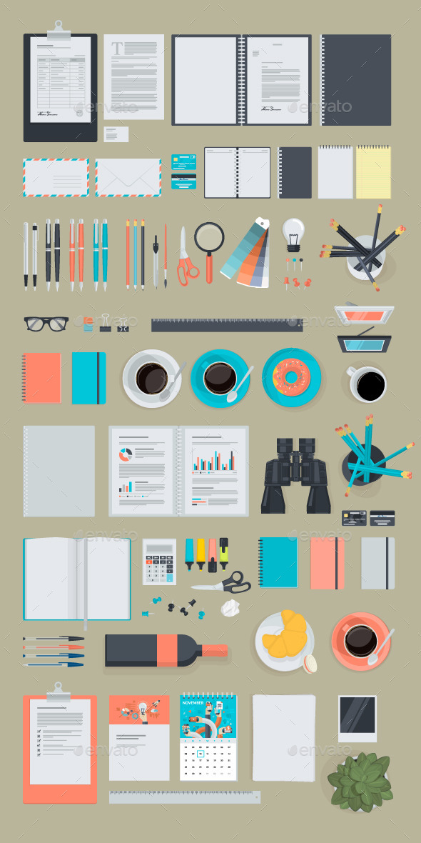 Set of Flat Design Business Items  - Business Conceptual