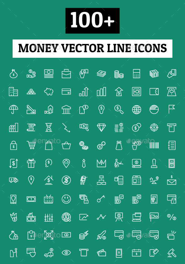100+ Money Vector Line Icons - Icons