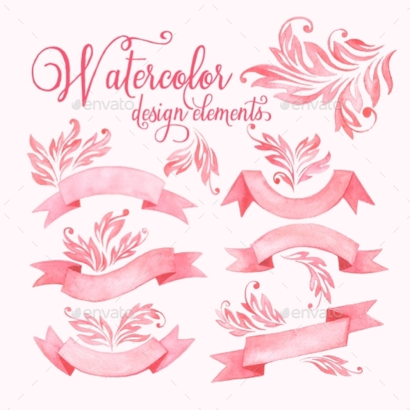 Watercolor Ribbons Set - Decorative Symbols Decorative