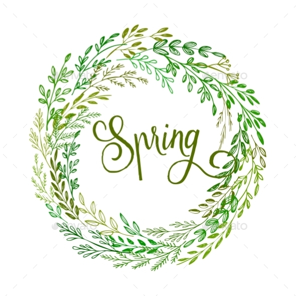 Hand Drawn Spring Wreath - Seasons Nature