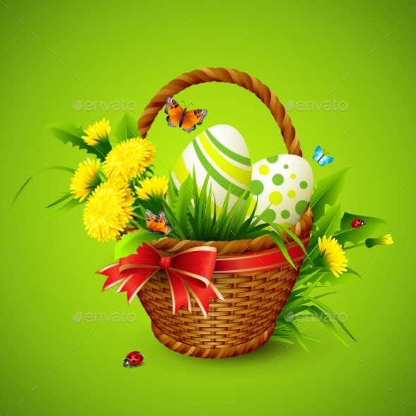 Easter Card with Basket - Miscellaneous Seasons/Holidays