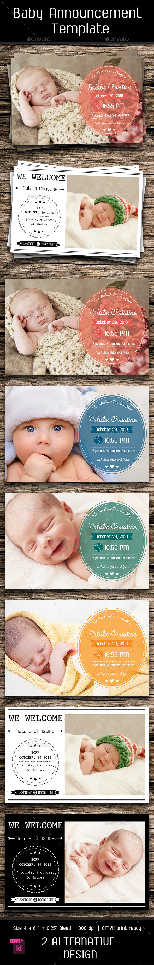 Baby Announcement Template - Vol.5 - Cards & Invites Print Templates