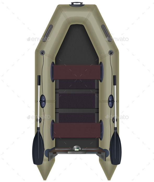 Inflatable Boat Top View - Man-made Objects Objects