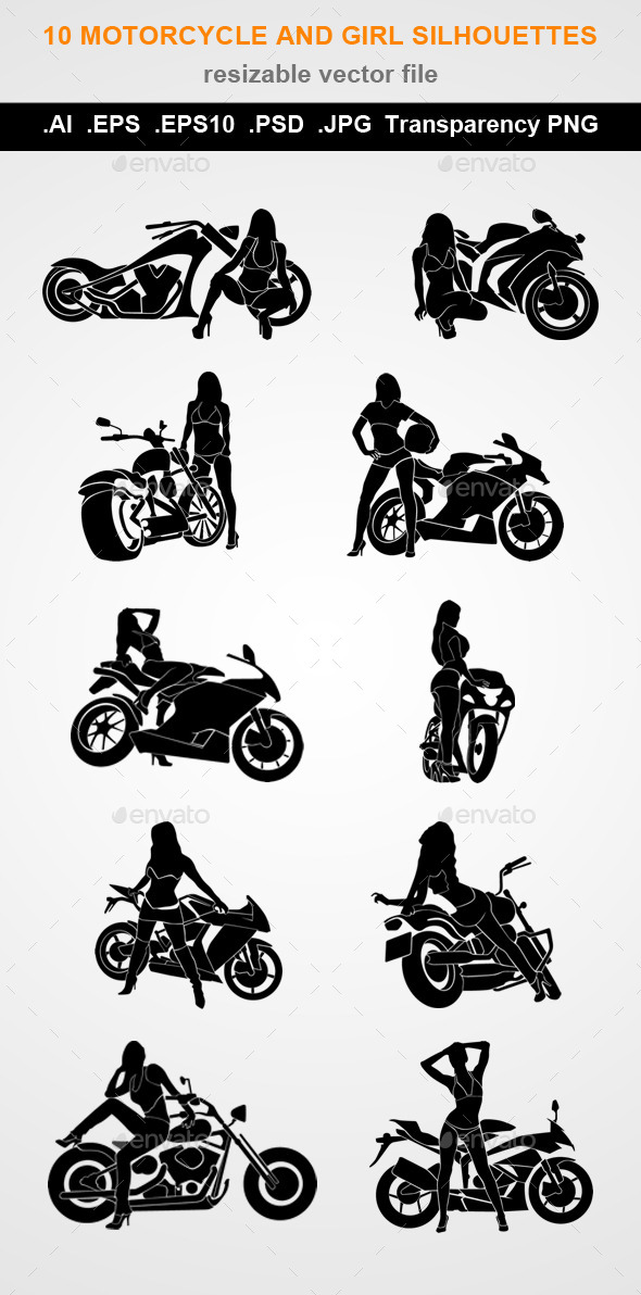10 Motorcycle and Girl Silhouettes - People Characters