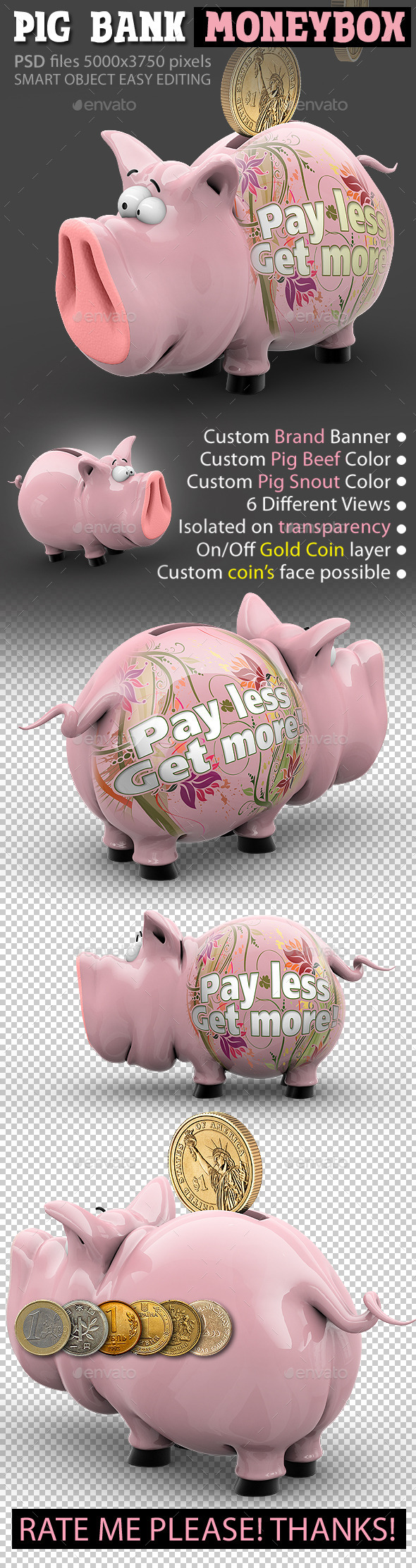 Pig Bank Moneybox, Piggy Thrift-Box - Characters 3D Renders