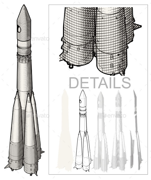 Space Rocket Engraving Style - Man-made Objects Objects
