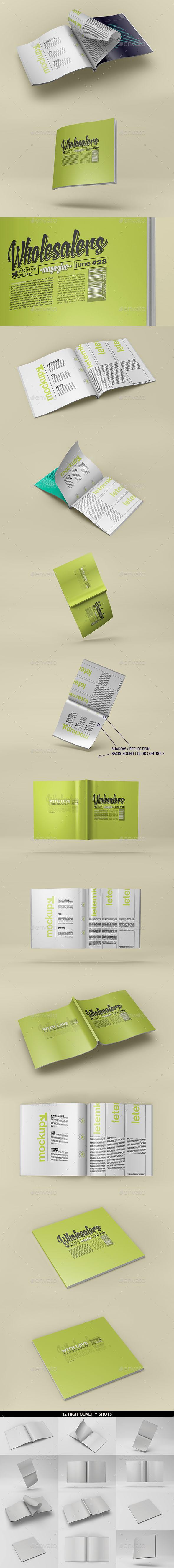 Square Magazine Catalog Mockup - Magazines Print