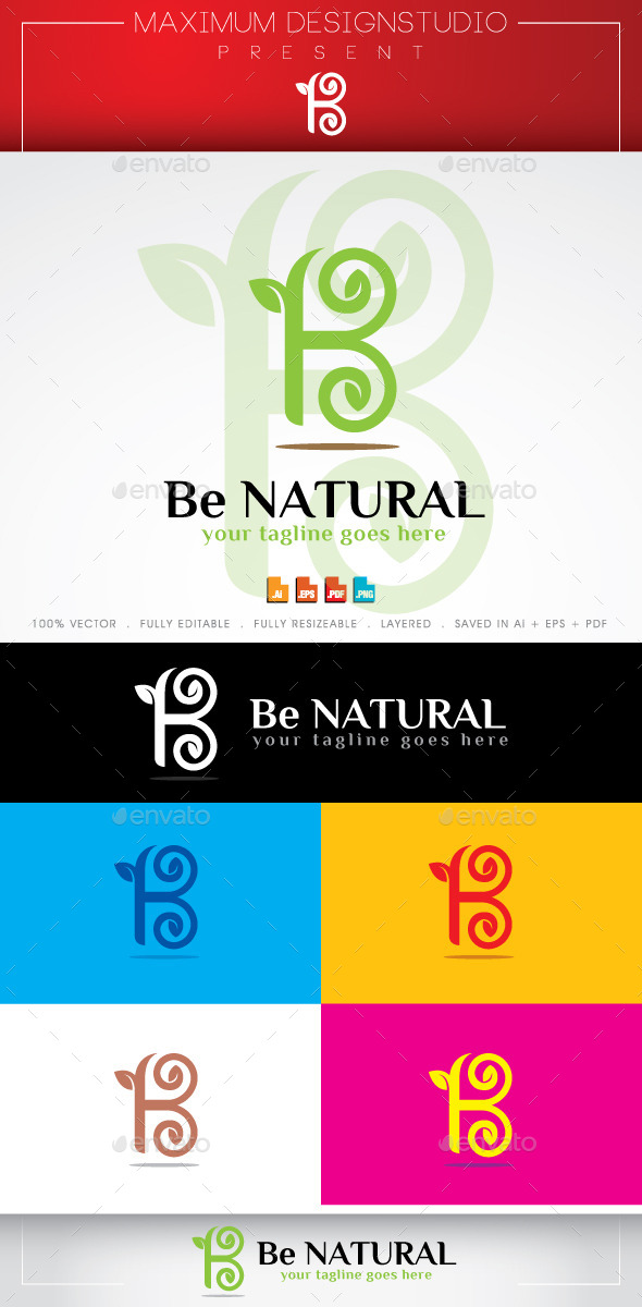 Be Natural - Letters Logo Templates