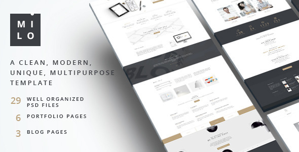 Milo  –  Clean & Modern Multipurpose PSD Template - PSD Templates
