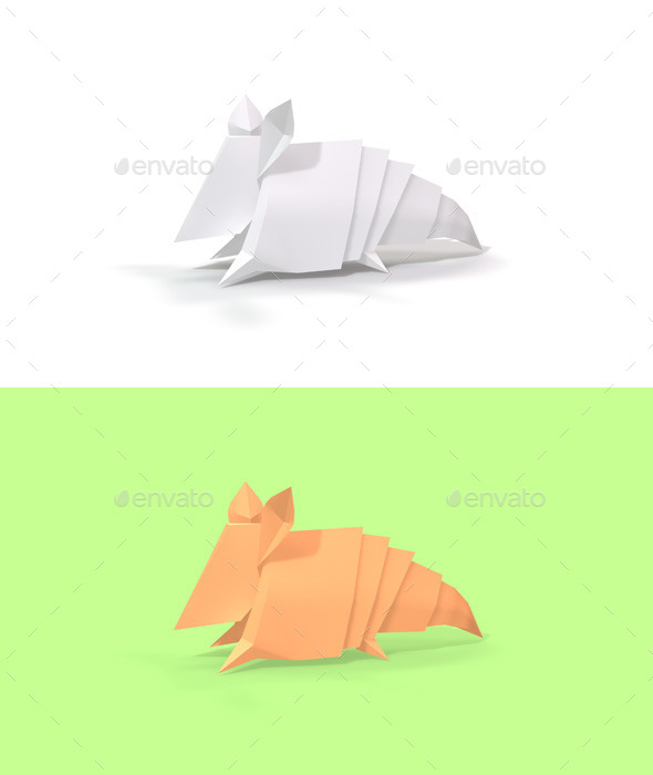 Polygon Origami Armadillo - Characters 3D Renders