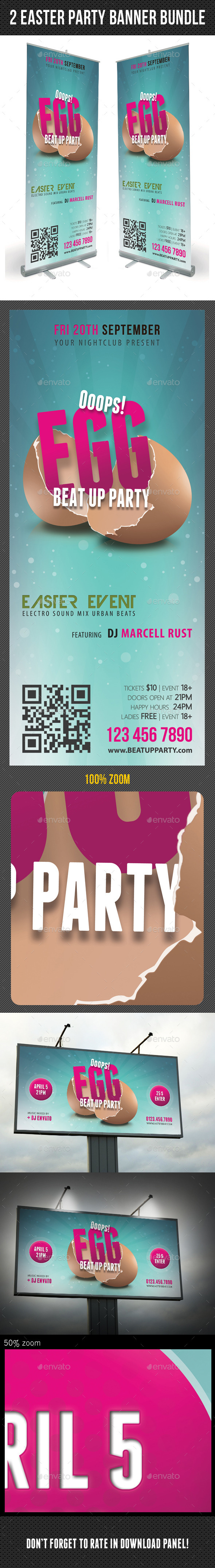 2 in 1 Easter Break Up Party Banner Bundle - Signage Print Templates