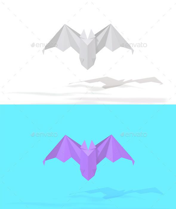 Polygon Origami Bat - Characters 3D Renders