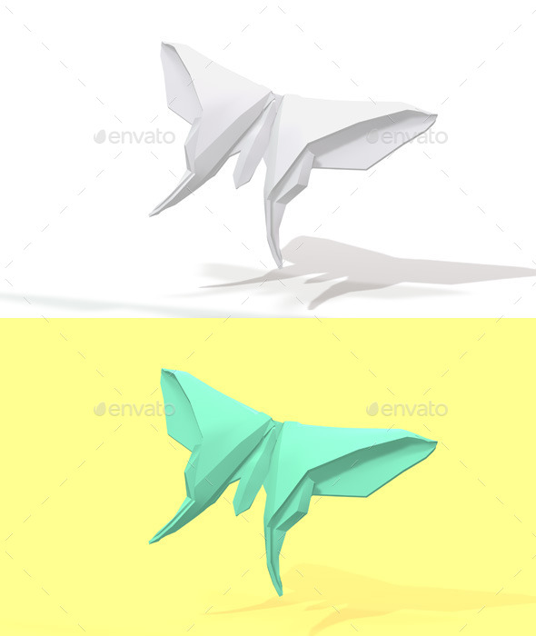 Polygon Origami Butterfly - Characters 3D Renders
