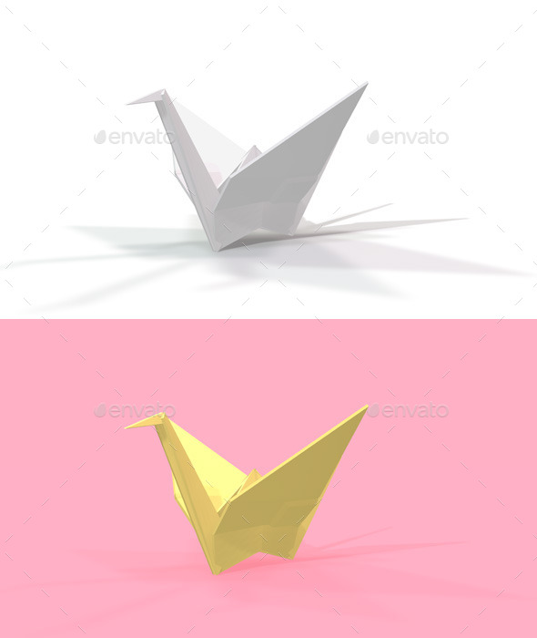 Polygon Origami Crane - Characters 3D Renders