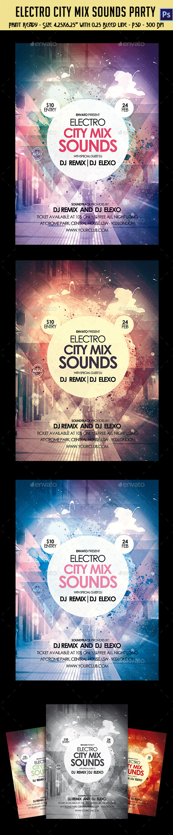 Electro City Mix Sounds Party Flyer - Clubs & Parties Events